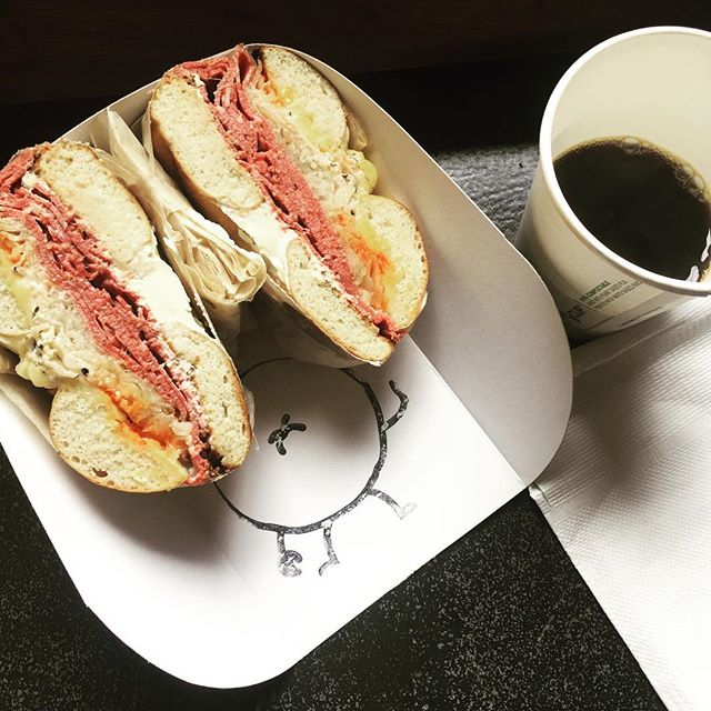 It's a Reuben kinda day.  #pastrami #sauerkraut #russiansauce #bagels #reuben #capetown #rosettaroastery