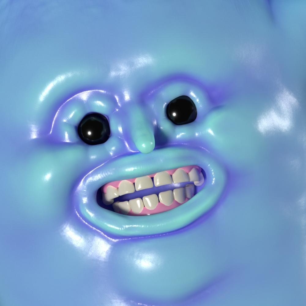 crema blue man face