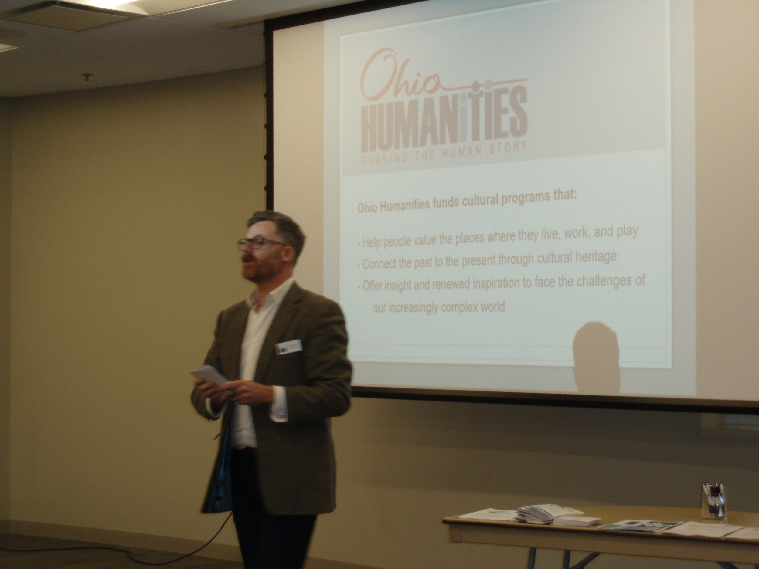 Rob Colby, Program Officer for Ohio Humanities, presents a Grant Writing Workshop, January 27, 2017.
