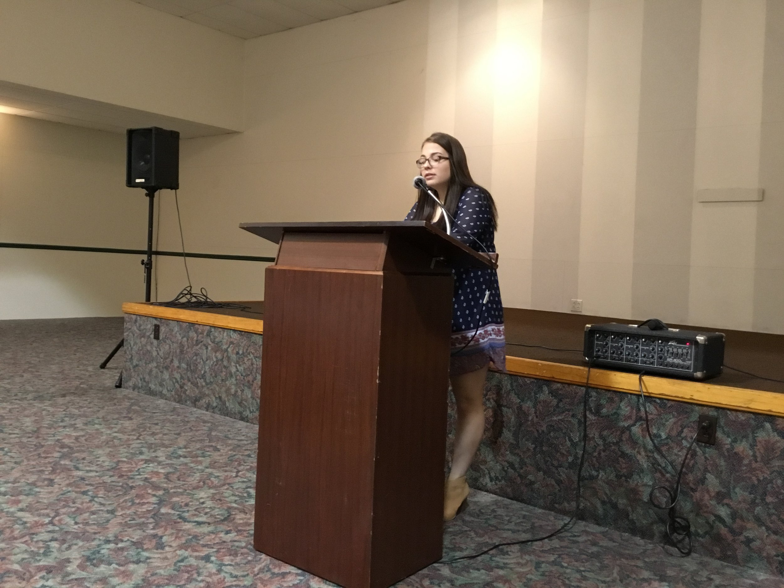 Isabella Cleveland, student speaker from Conneaut High School's Youth Philanthropy Board shared her personal story on why the program is important to her.  April 16, 2019