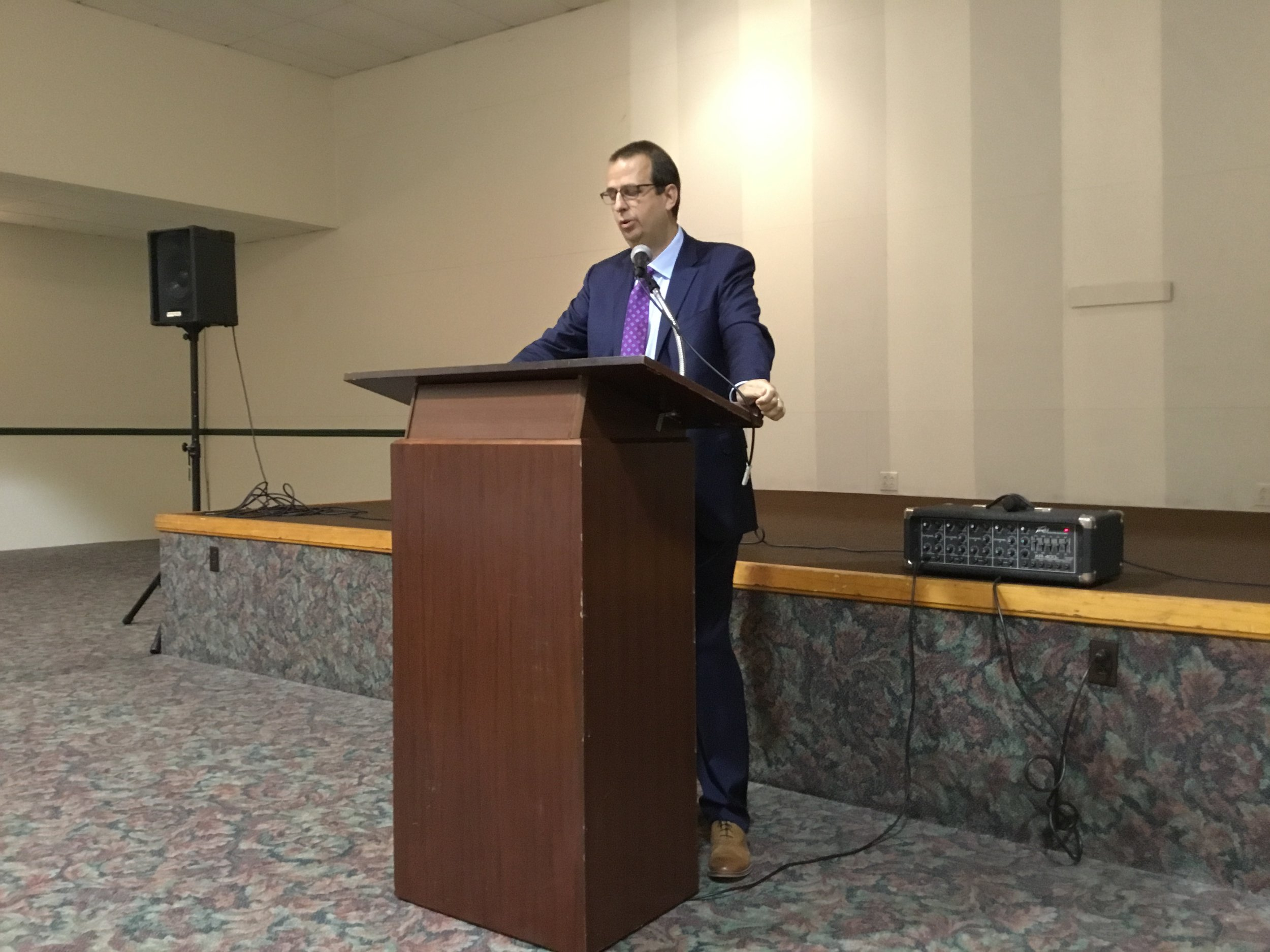 Keynote Speaker, Richard Dana, Esq., Instructor at Kent State University, Ashtabula encourages the youth to continue their philanthropic efforts after high school.  April 16, 2019