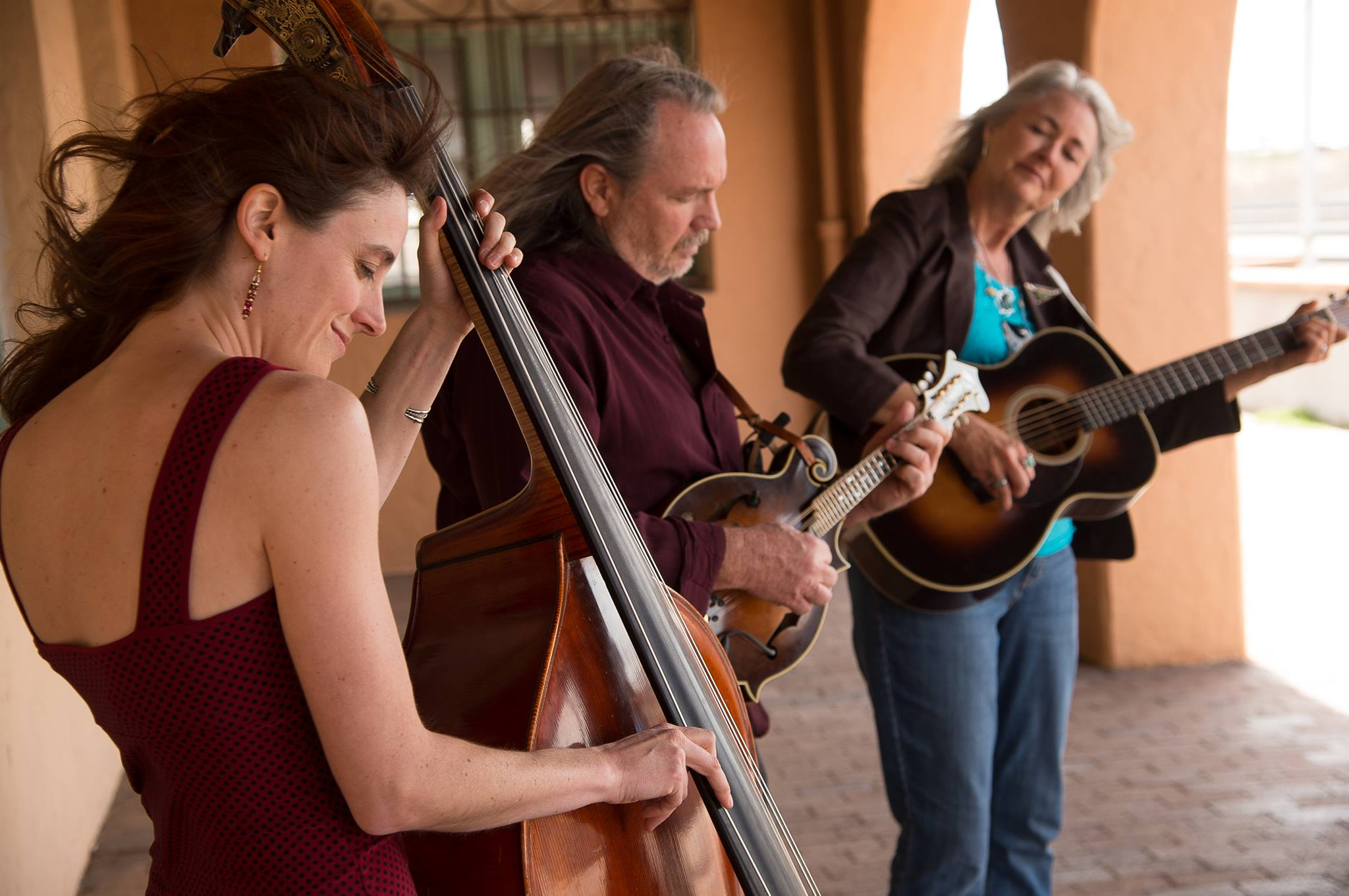 From left, Anne Luna, Steve Smith, and Chris Sanders are Hard Road Trio.