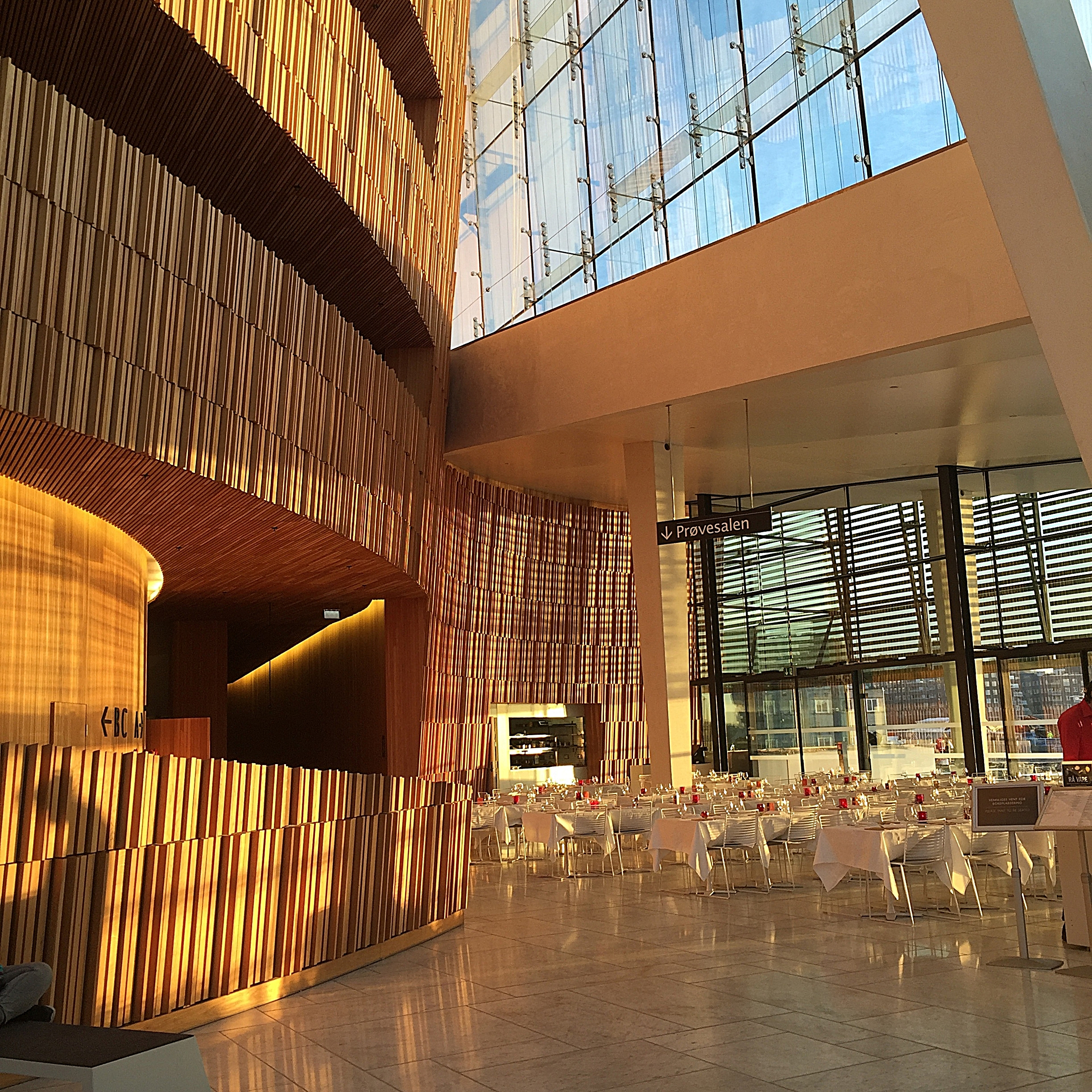Interior of the Oslo Opera House at sunset