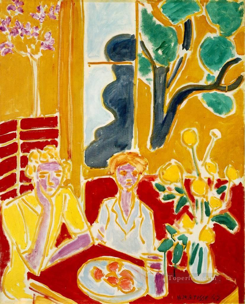 Deux Fillettes, Fond Jaune et Rouge (1947)