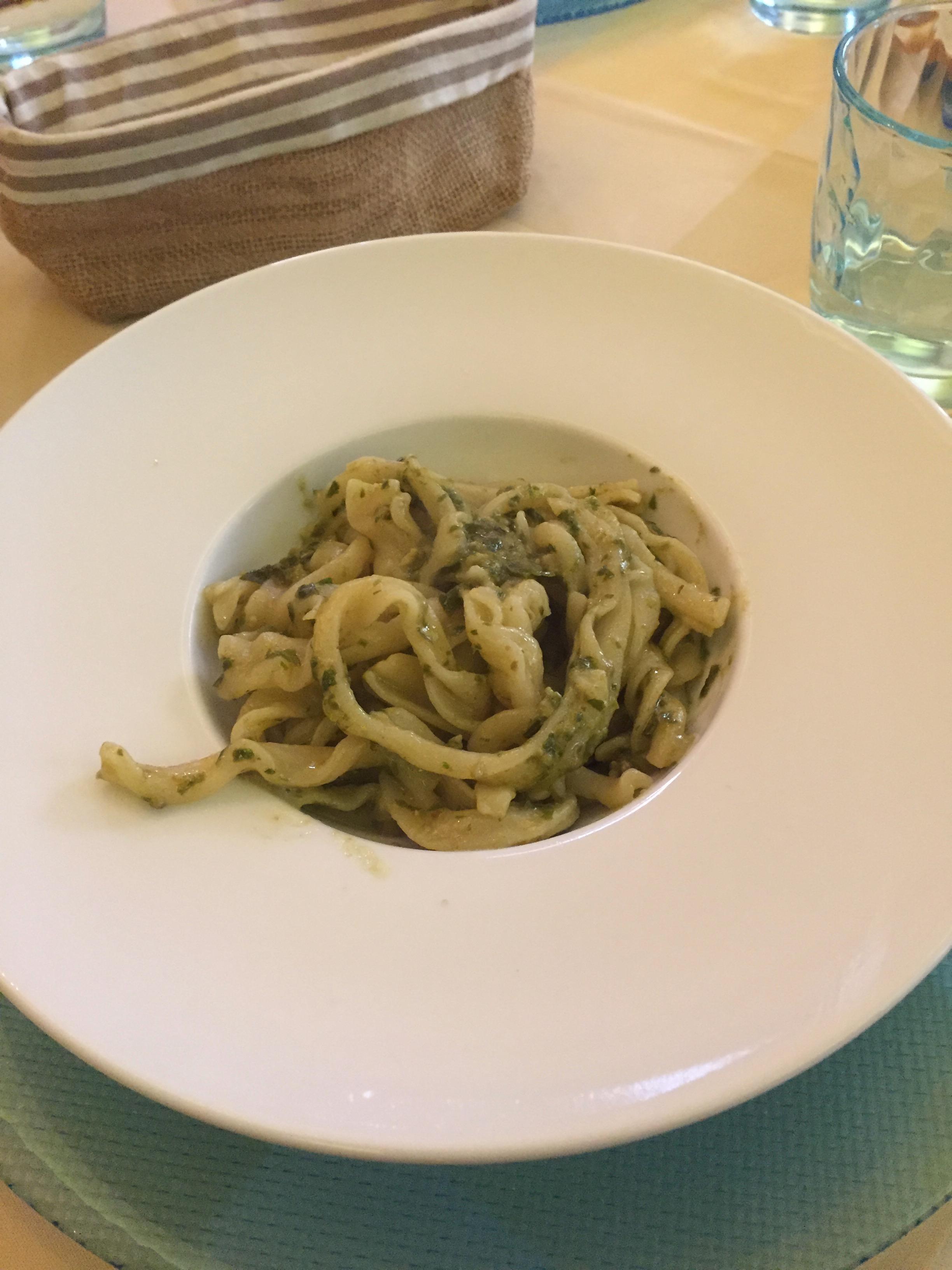 tagliatelle with pesto at Ristorante Tempero