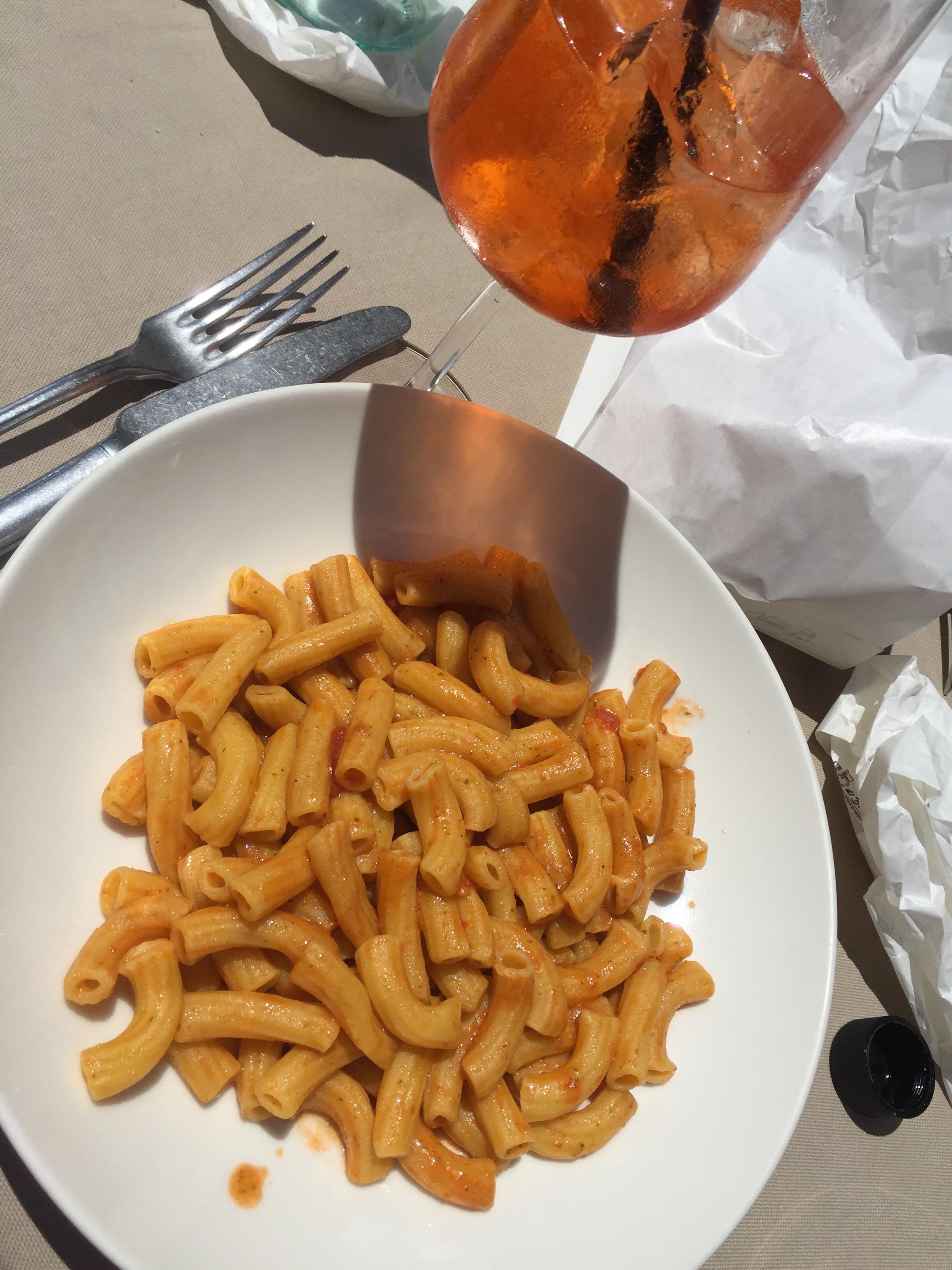 maccheroni and aperol spritz in Perugia