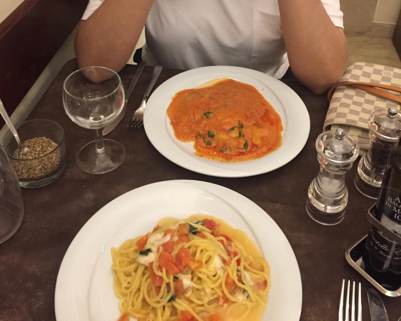 very tasty pasta near the Trevi Fountain in Rome