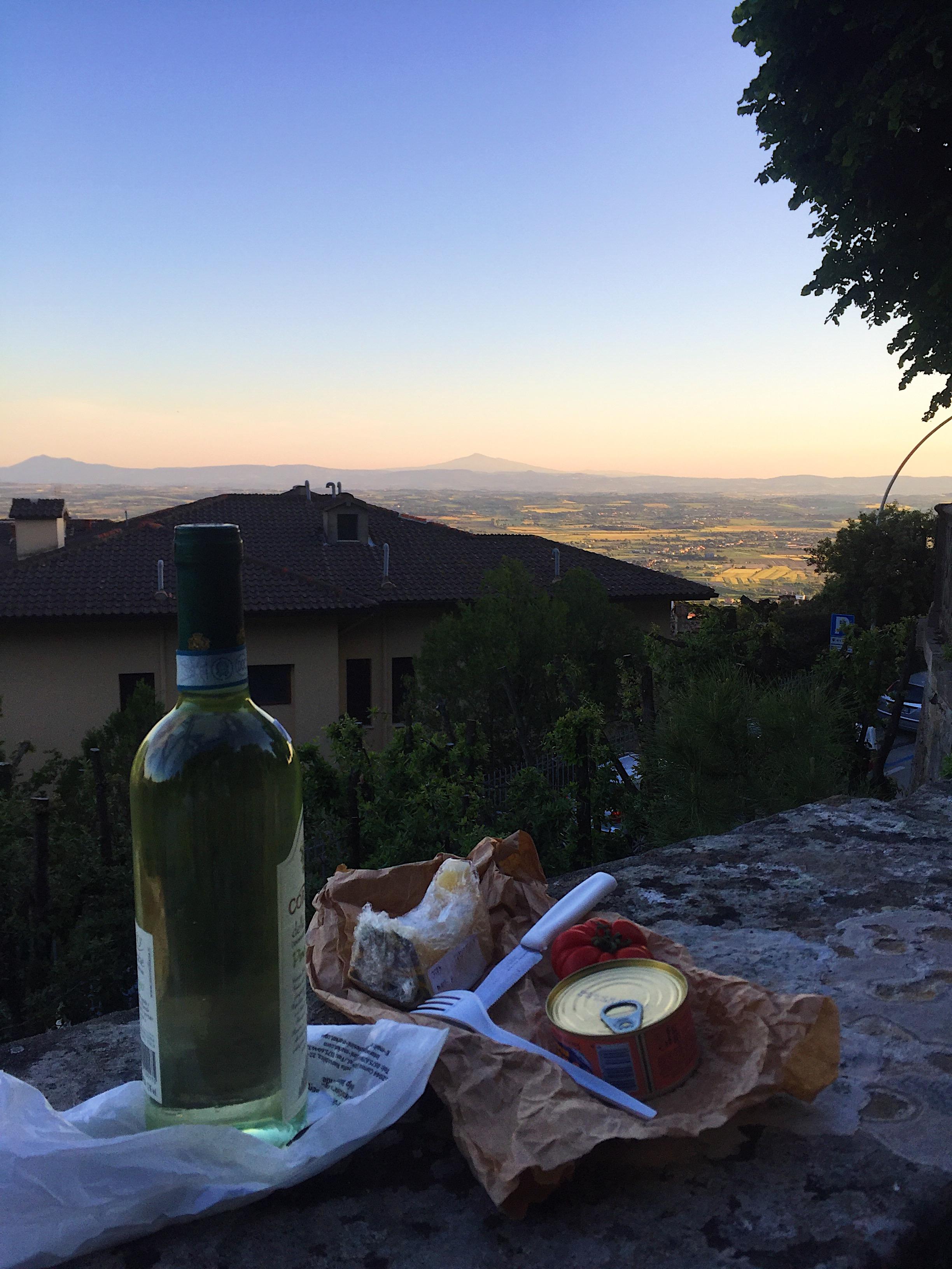 sunset tuna picnic overlooking Tuscany
