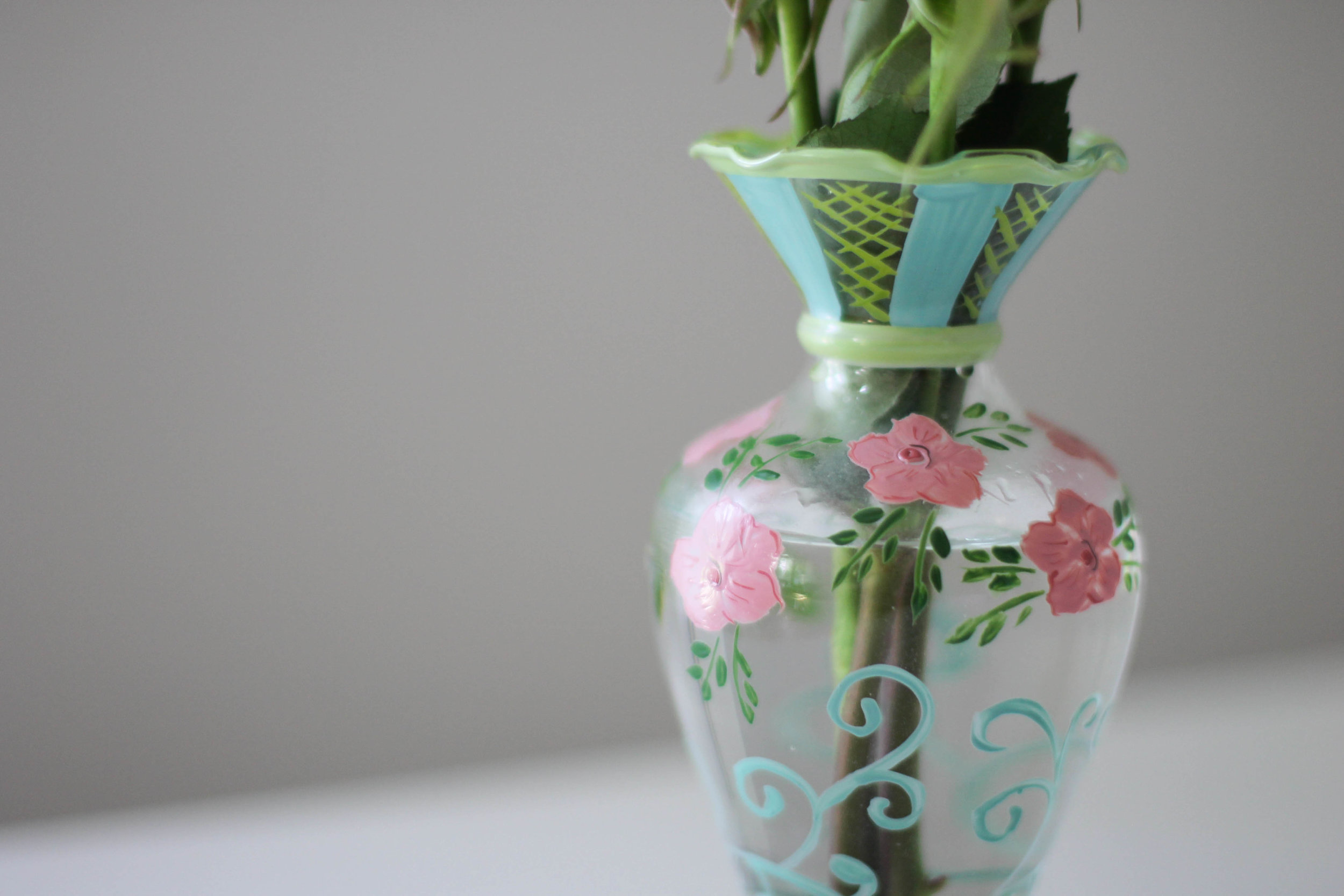 A hand-painted bud vase also from Tracy's store.