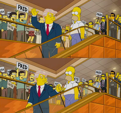 Eerie prediction on  The Simpsons from way back in March, 2000: President Donald Trump flanked by Homer Simpson Image credit:FX Networks LLC