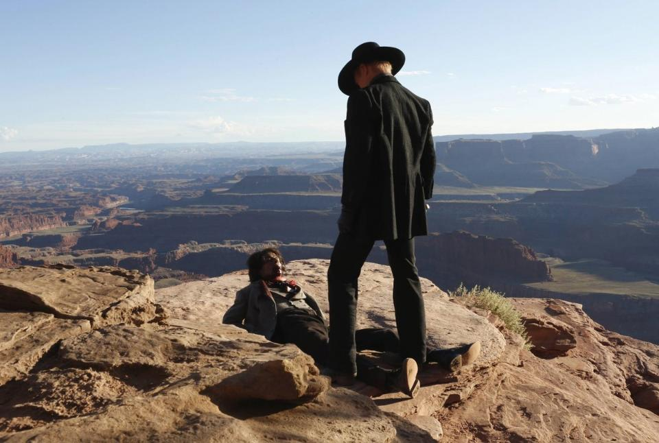 The Man in Black scars the beautiful landscape of the Westworld theme park (Image credit: HBO)
