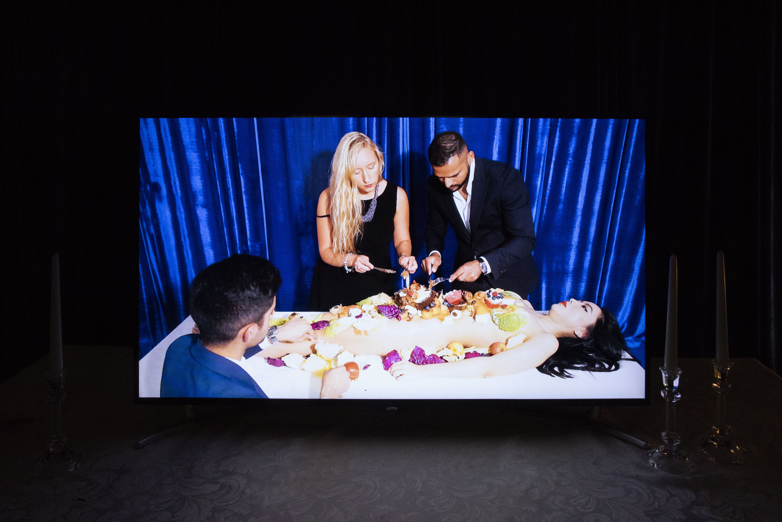 """FOUR CHANNEL VIDEOS, 2018  """"Foodgasm over orgasm is an utopian ideology of refusing to play the role of femininity established by the patriarchy And, to be come the opposite of orgasm. I'm in an on-and-off toxic relationship with food I'm filling the loneliness But I have no nourishment. Culture is our collective experience, where capitalism is masquerading."""""""
