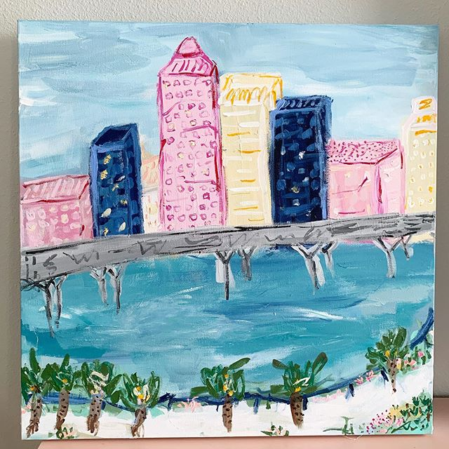 My Saturday #wip- Working on #Tampa riverwalk representation. I especially love incorporating texture, tone, lines and pattern when I'm painting impression. And I really love to use a lot of fun, childlike lines (yes, that's intentional😜) and lots of colors because I ultimately desire for these pieces to make people smile and feel happy. I also enjoy switching lanes and don't care if it's non conventional. From nonobjective to impression to whatever I want! It really keeps my creativity alive and challenges me in different ways. #kellyhovisart . . . #riverwalk #tampariverwalk #tampaartist #artist #creative