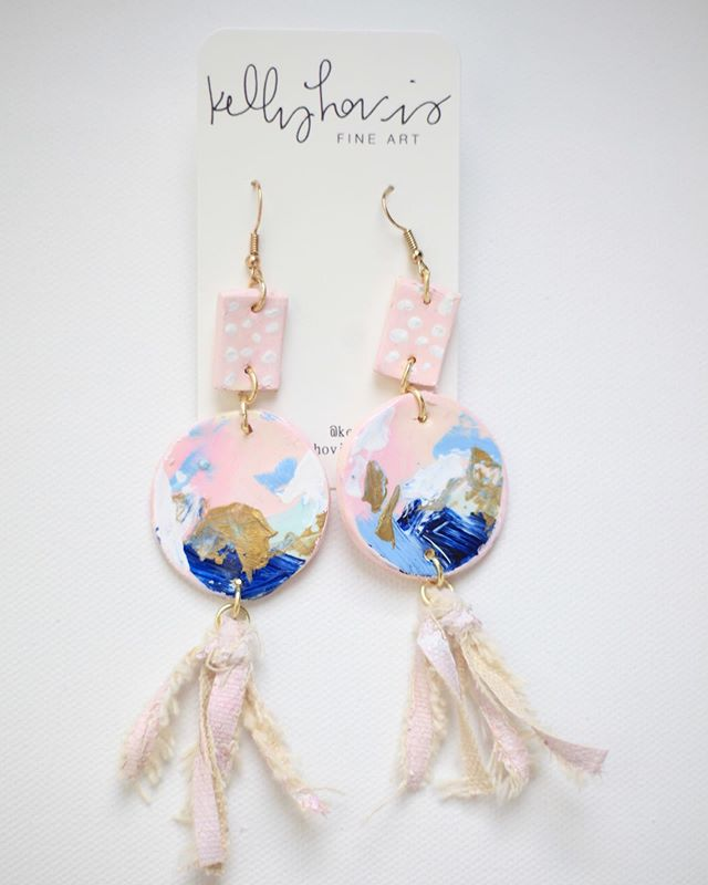 """(Sold out) I have two pairs of earrings for sale...just TWO! Go """"Shop Jewelry"""" on my website if you want em💁🏼♀️. You'll be the only person in the world with these earrings. Possibly making more if the interest is there😉. The first ones are clay pieces, each individually shaped and hand painted. The tassels on both pairs are shredded canvas, with original art painted on them! What do you think?! Would love to hear from you! I have one more design coming, so stay tuned😊. And yes, I ship! #kellyhovisart . . .  #art #artist #abstractartist #artwork #canvas #acrylics #texture #calledtocreate #modern #modernart #contemporaryart #painting #decor #entrepreneur #dreamjob #commission #commissionart #interiordecor #interiordesign #decor #tampaartist #floridaartist #wallart #gallerywall #doitfortheprocess #creative #creativepreneuer"""