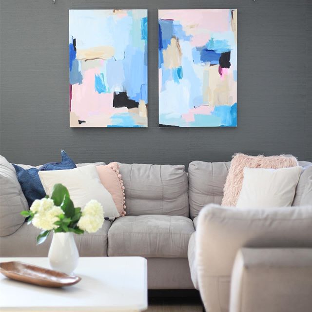 """These two pieces are listed! Click the link in my profile to head to my website. Who would hang these guys in their home?! 🙋🏼♀️ One of the best parts of painting is being able to hang the pieces in my own home before they are sold. They are named """"Effortless"""" for the sheer fact that these were such a joy to create. The flow came almost immediately and give me such a sense of peace when I look at them. I can't wait for that day when peace and joy come so effortless. When it's our permanent state of being because we are united face to face with Jesus. #Kellyhovisart . . . #art #artist #abstractartist #artwork #canvas #acrylics #texture #calledtocreate #modern #modernart #contemporaryart #painting #decor #entrepreneur #dreamjob #commission #commissionart #interiordecor #interiordesign #decor #tampaartist #floridaartist #wallart #gallerywall #doitfortheprocess #creative #creativepreneuer"""