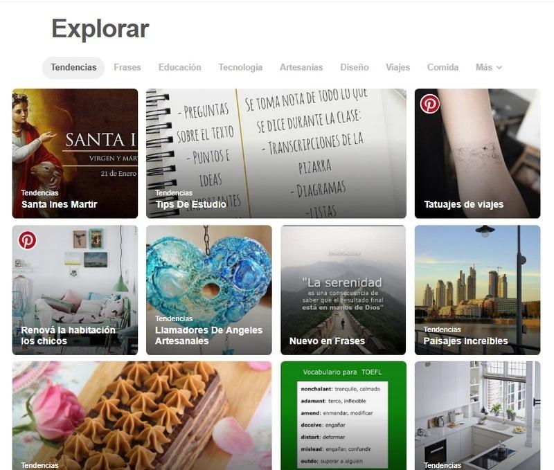 En la pestaña de Descubrir (una brújula), podrás conocer las tendencias y descubrimientos que sugiere Pinterest en tu comunidad.