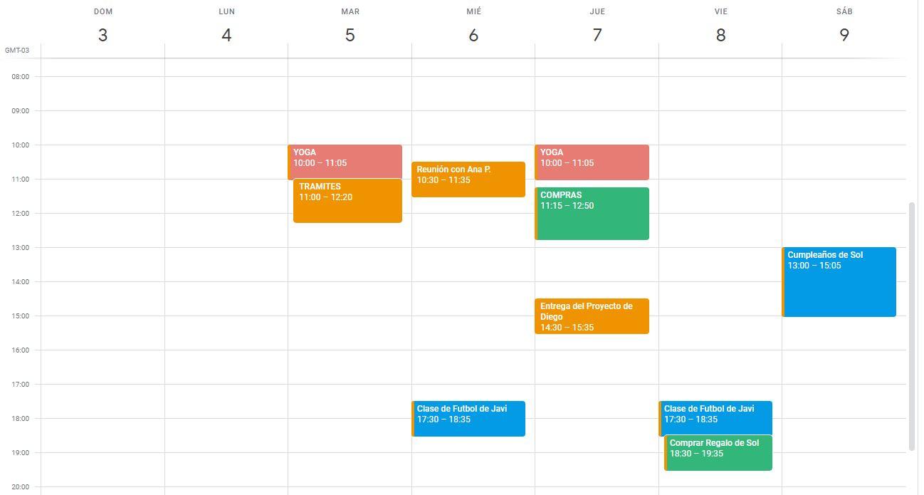 Calendario de Actividades y Eventos con Compras en Contexto