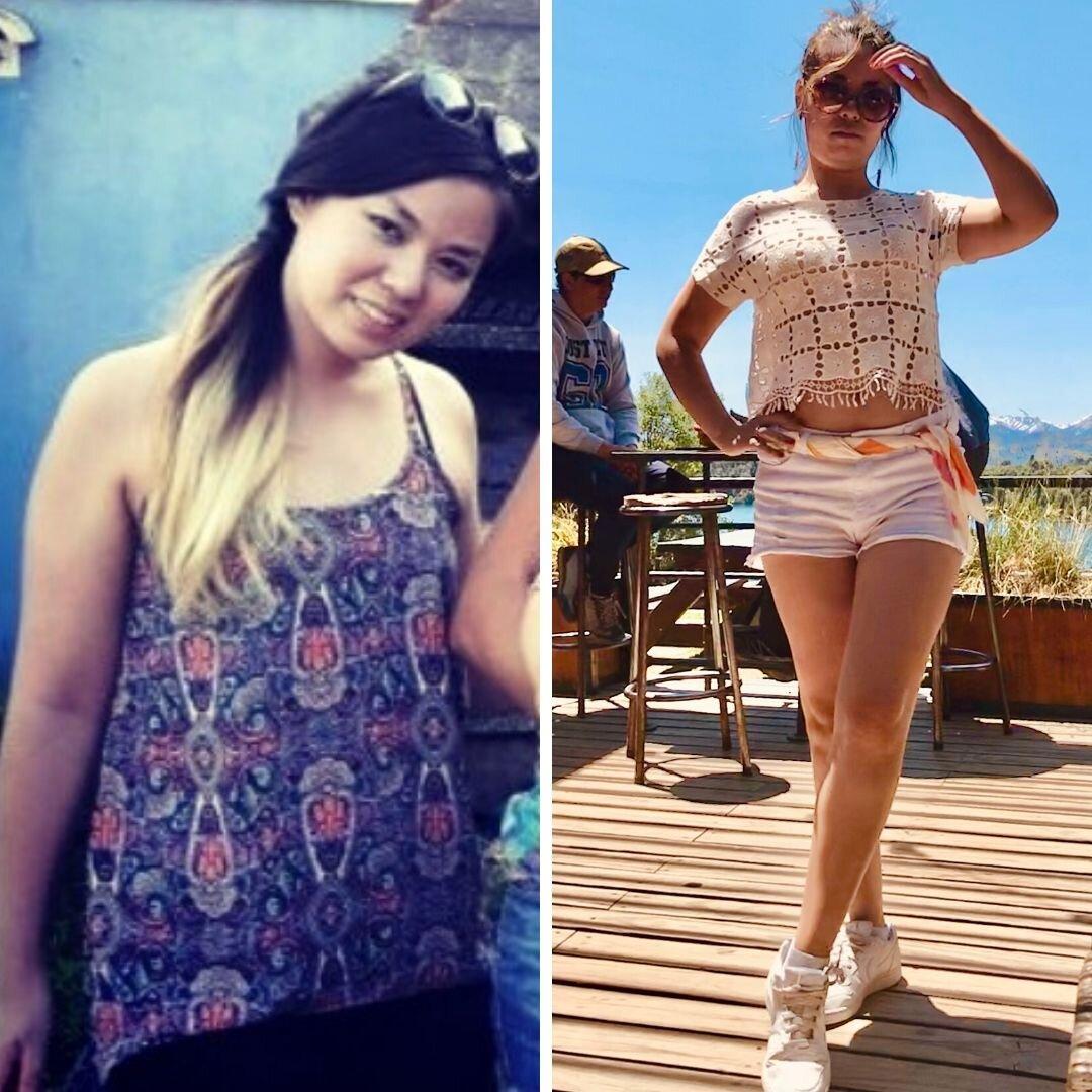 La importancia de la postura y el corte de la ropa: Antes (izquierda) estaba más flaca que ahora (derecha), y sin embargo, por la postura y las prendas, igual me veo más estilizada.