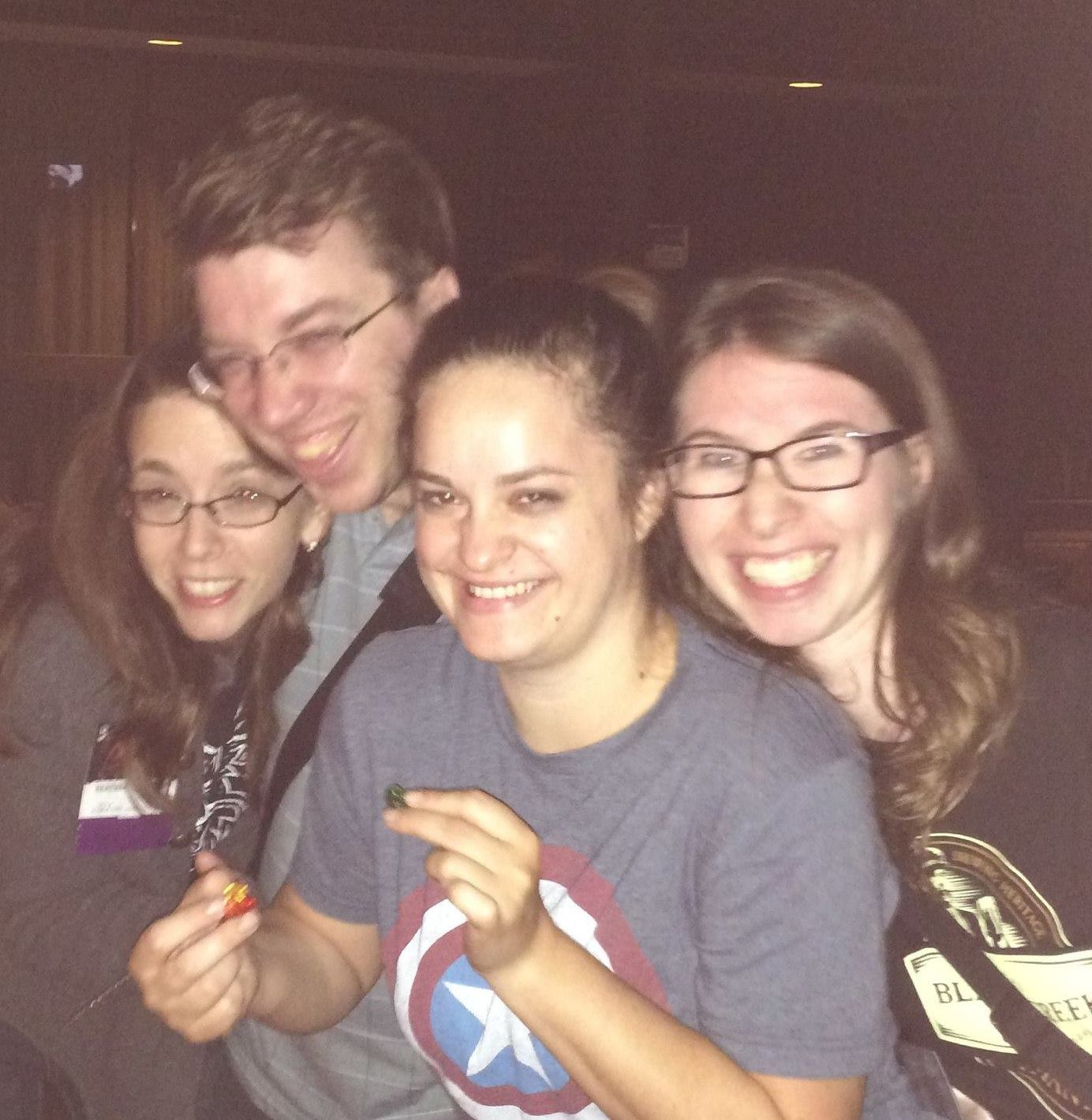 The fateful night at Balticon 2014, with the dangerous gummy bears.  (From left: Heather Welliver, P.C. Haring, Lauren Harris, K.T. Bryski)