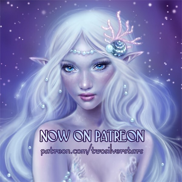 "I'm on Patreon! 💕 You can now have an exclusive look behind the scenes of my art creation process. For my first ""tutorial"" post I created a step by step walk-through of my latest painting here patreon.com/twosilverstars  I know not everyone can support with $ and I totally understand. Any help you can give, re-posting, linking, sharing my page with people you think would like it. Every bit helps and I greatly appreciate it all. Thank you all so much for your support, it means a lot to me 💖  #patreon #artpatreon #patreonartist #dgitalartist #fantasyart #mermaidart"