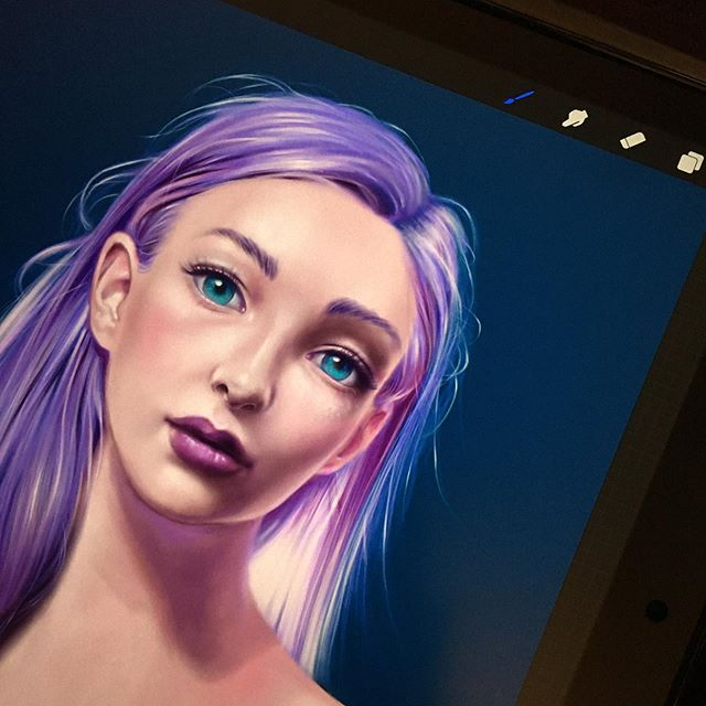 Finally feeling more comfortable painting in #procreate on my iPad. I'm using a photo reference from the amazing @howardlyonart. I highly recommend checking out his Patreon. . . #digitalpainting #ipad #ipencil #painting #purplehair #digitalart