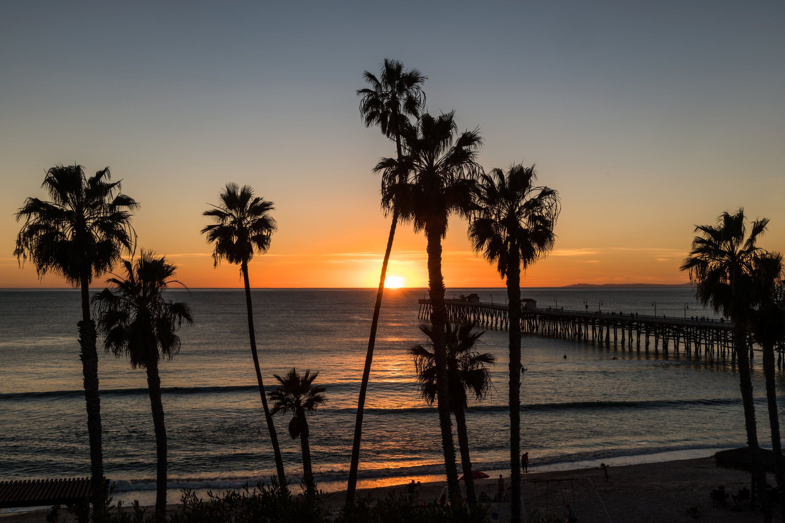 A photo taken during sunset at The San Clemente Pier.