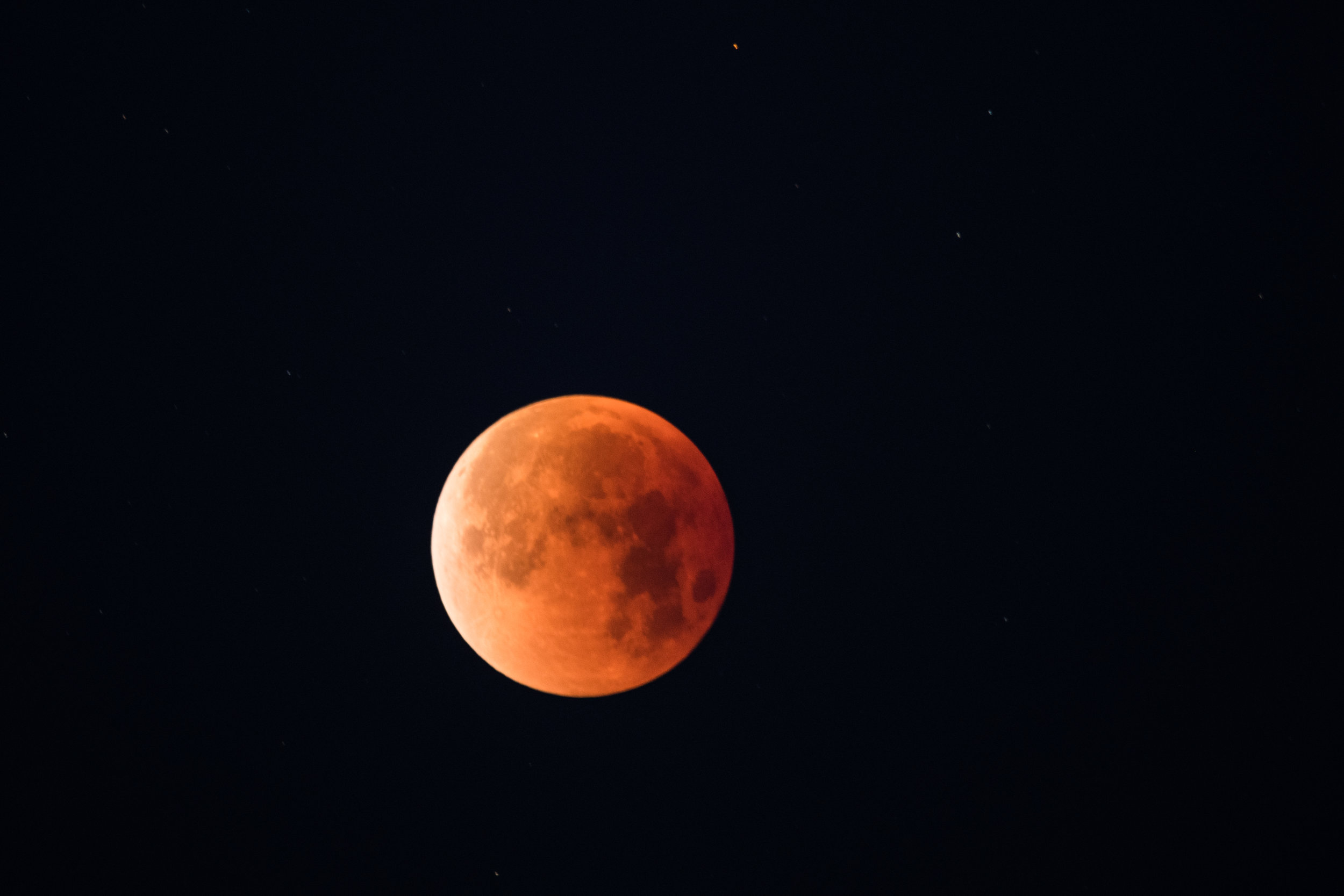 The Blood Moon during the early hours of the Lunar Eclipse.