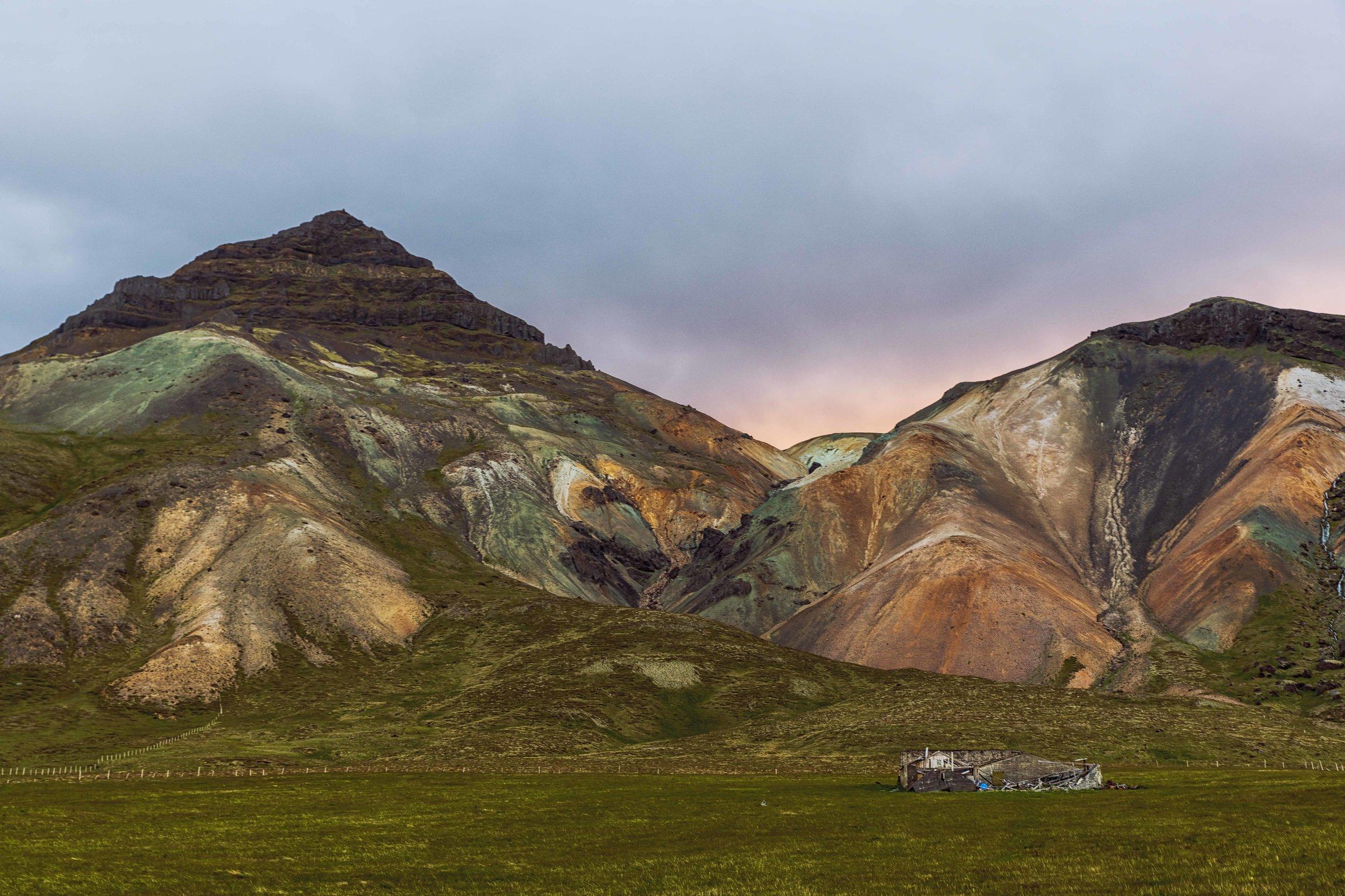 A colorful landscape scene along the Snaefellsnes Peninsula