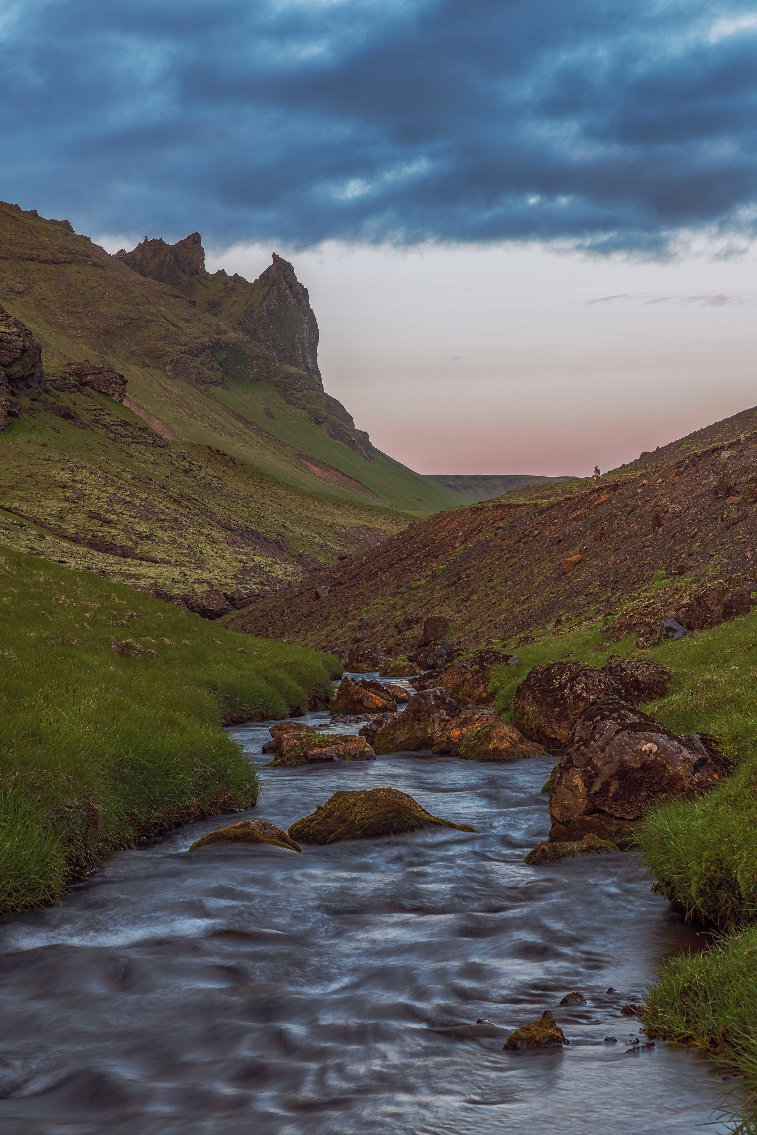 A stream and mountains near Vik