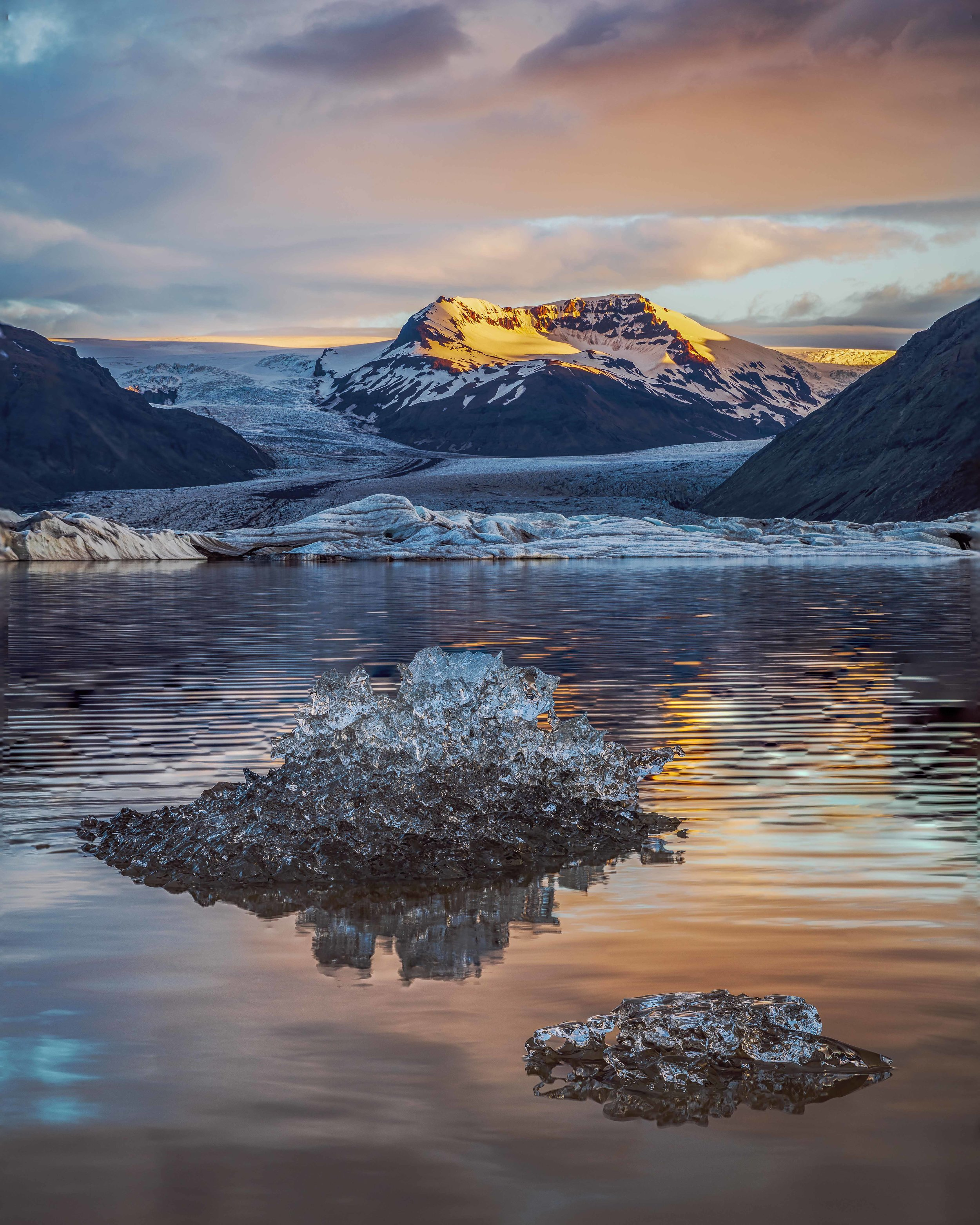 Glacial lagoon shortly after sunrise