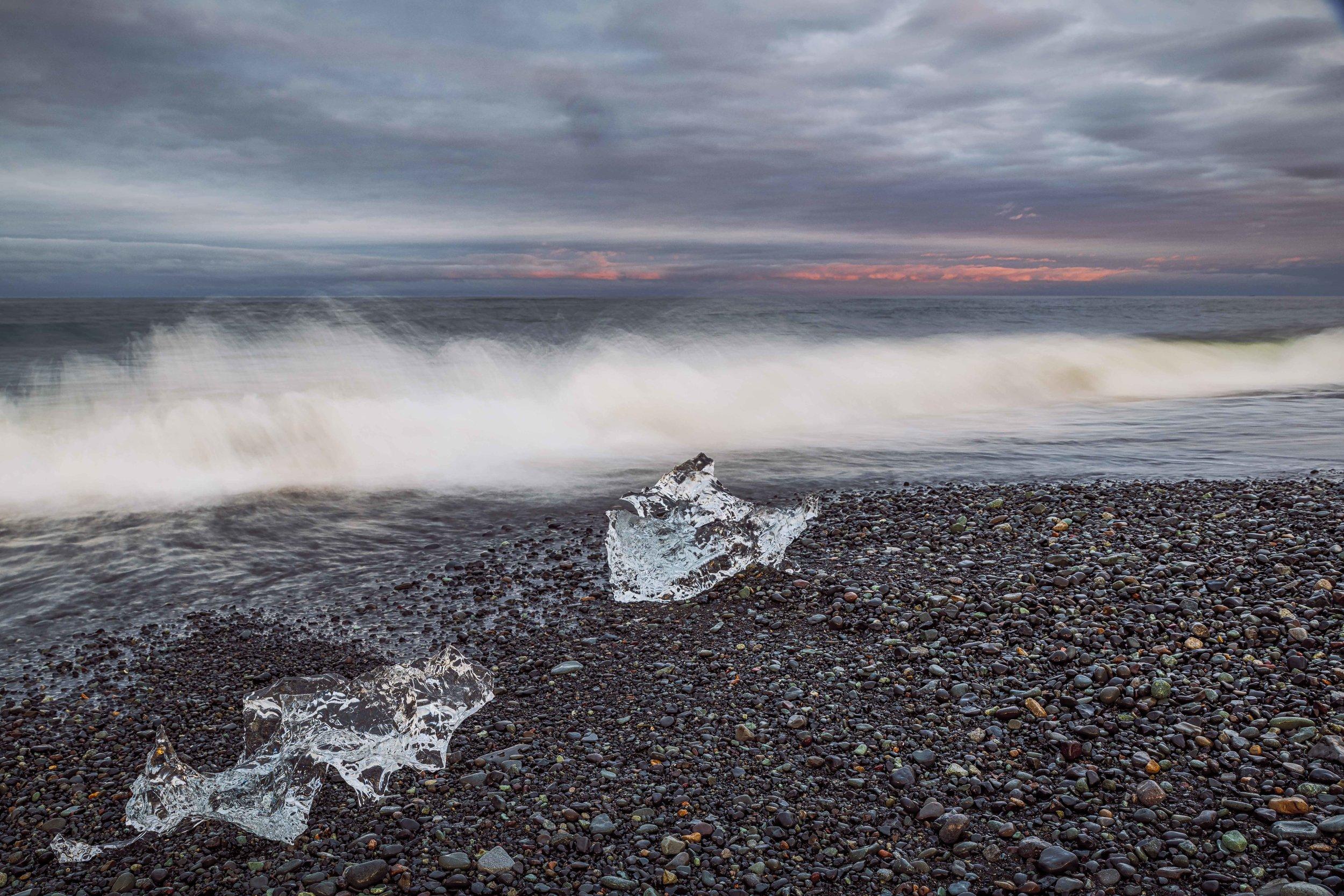Ice along Breidamerkursandur black beach