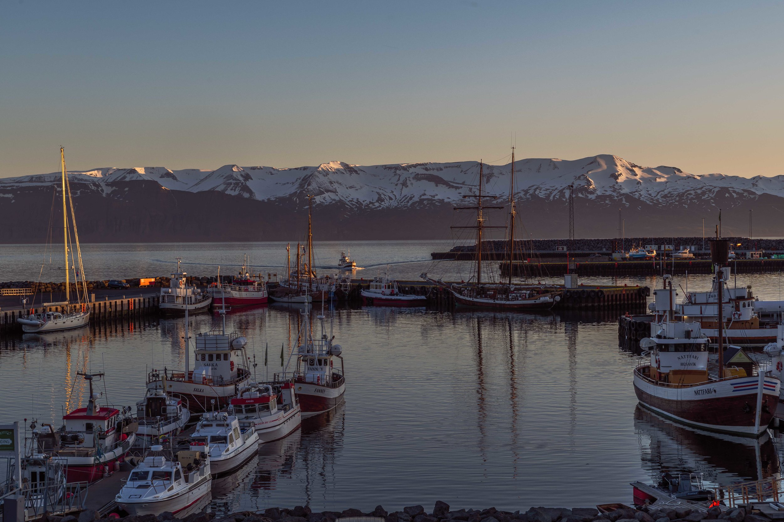 A great sunset view of the port at Húsavík