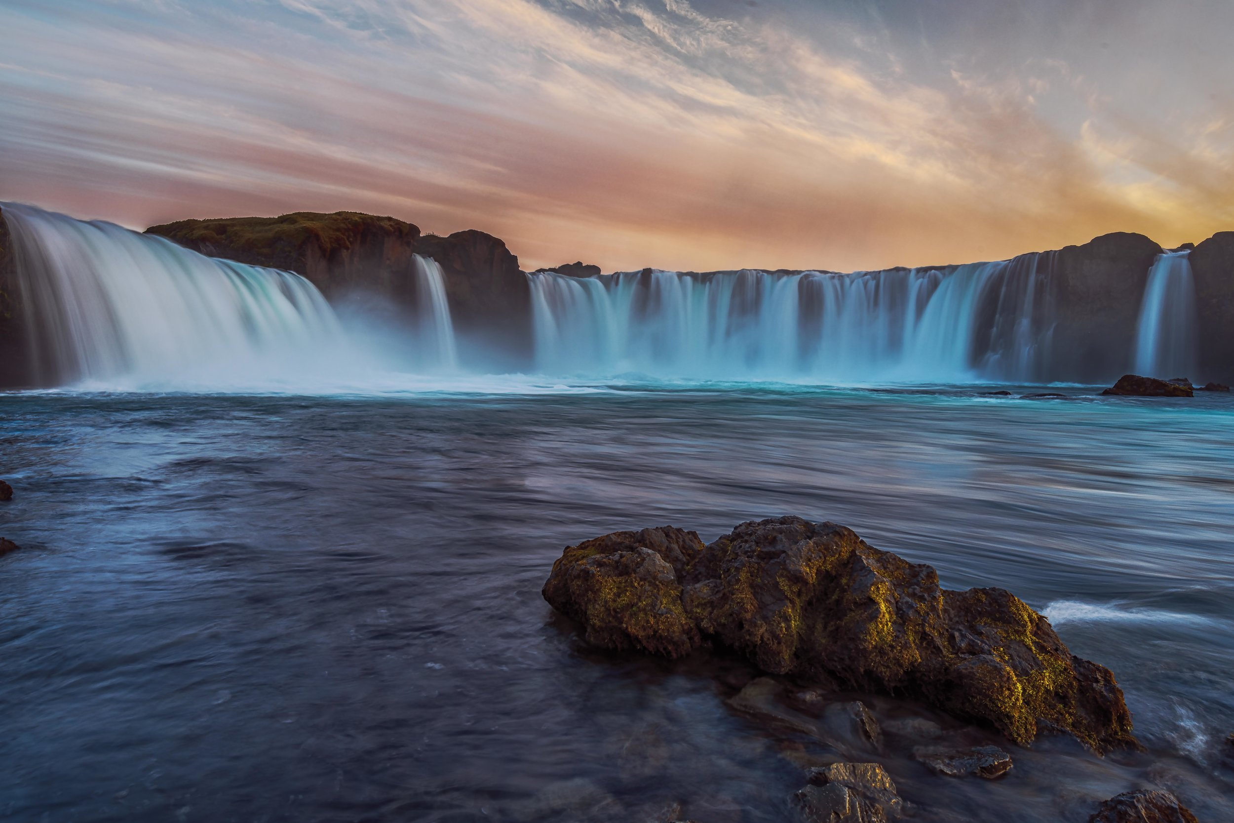 A lower view of Godafoss just before sunset