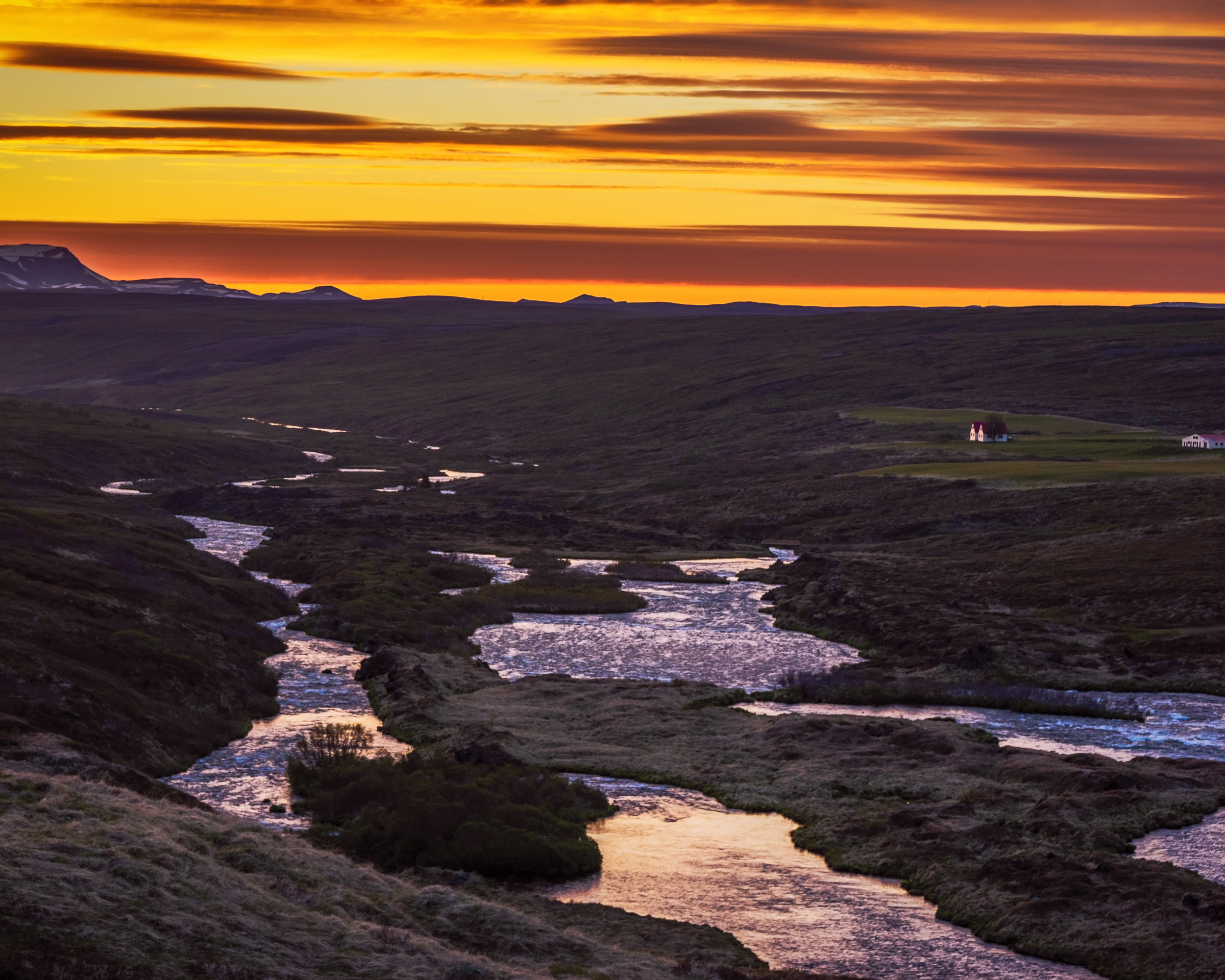 A river near Myvatan shows a nice glow after the sun had set