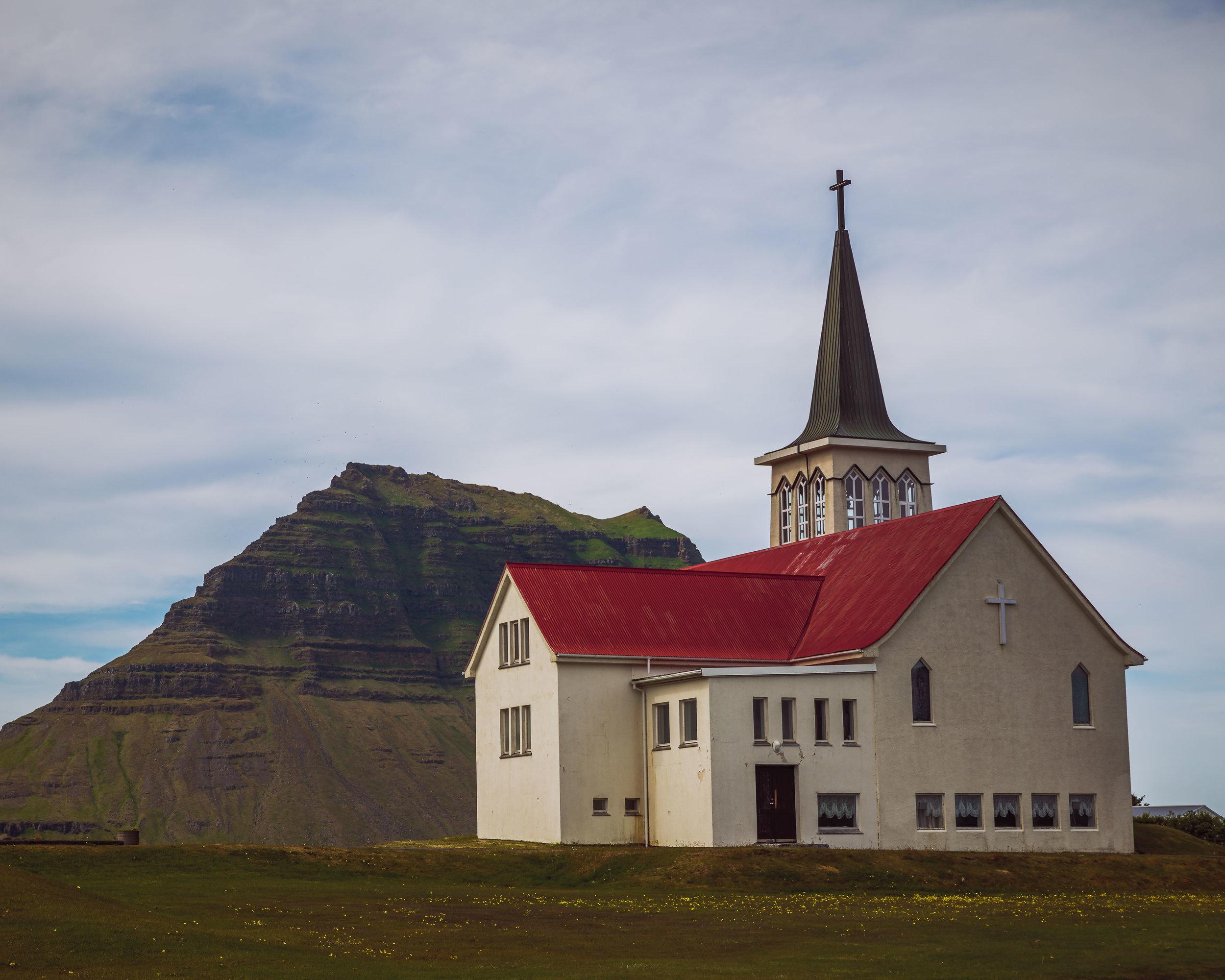 Church at Grundarfjordur with Kirkjufell Mountain in the background