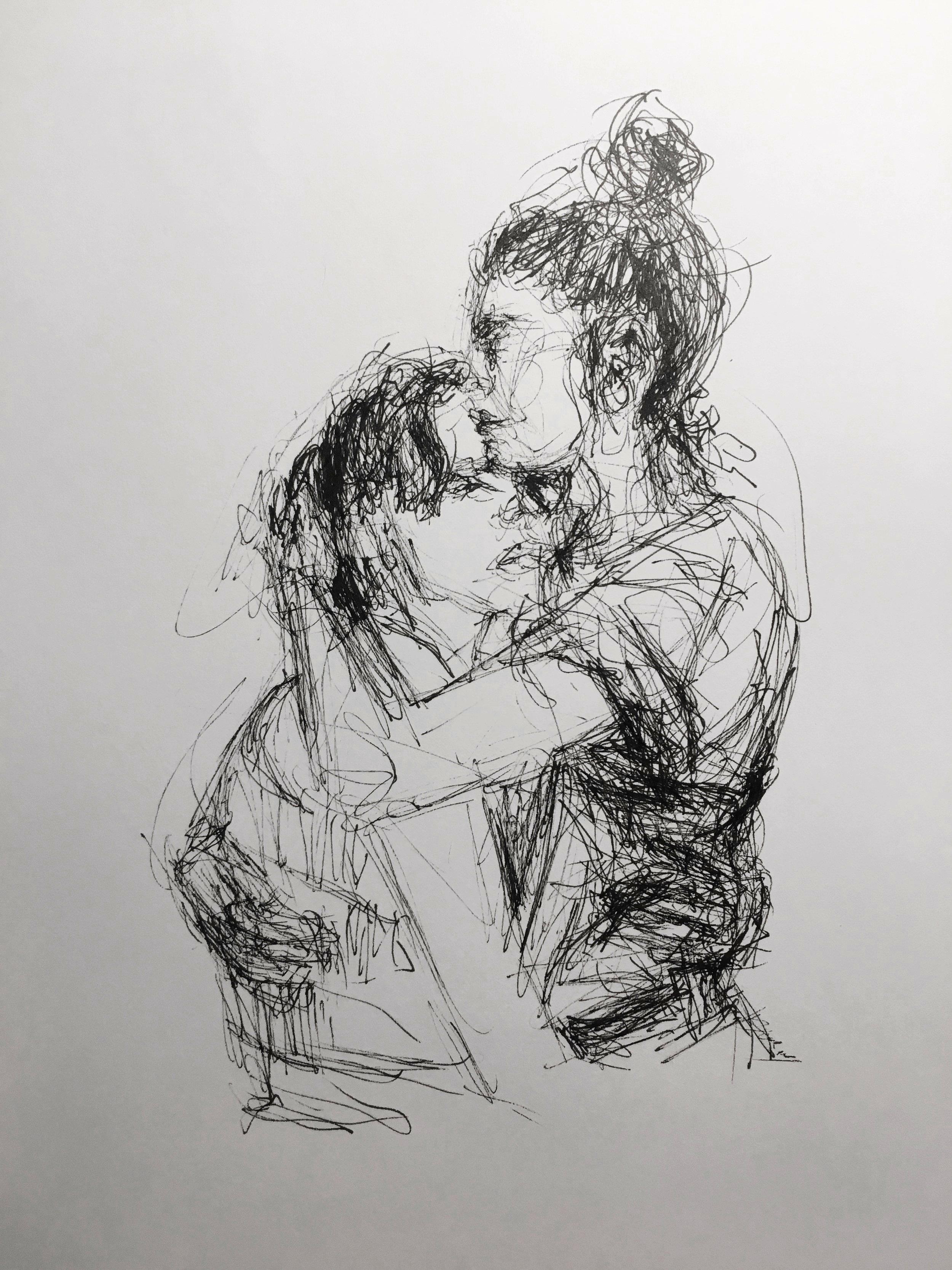Girls Embracing Sketch.JPG
