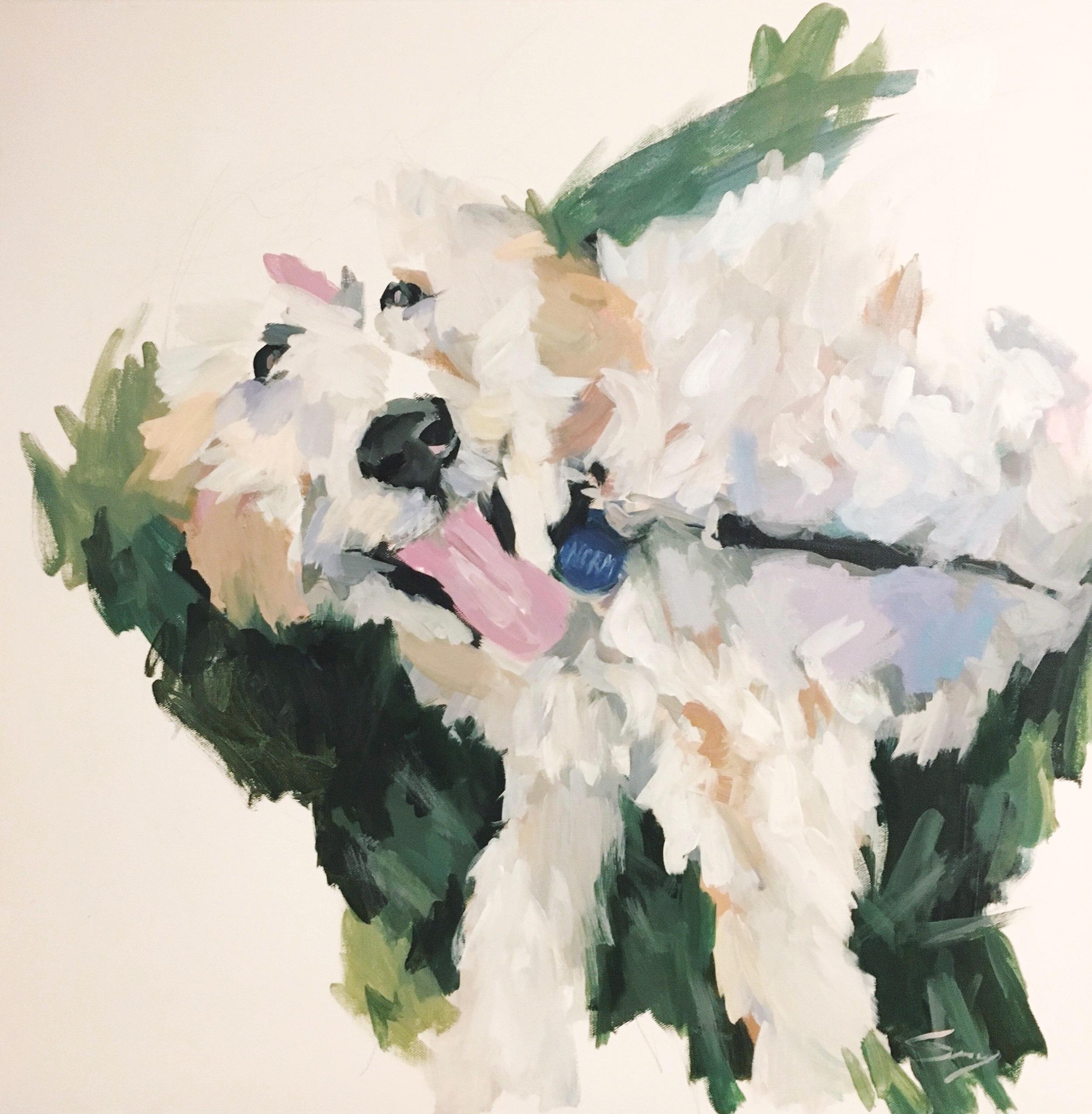 white fluffy dog painting.JPG