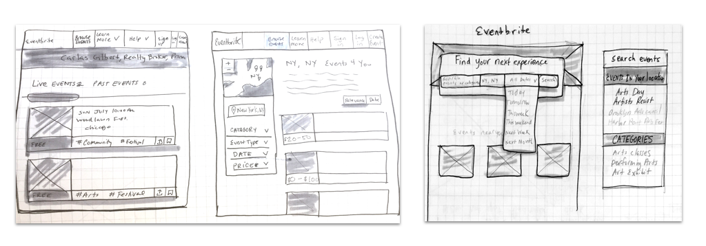 Sketching of Eventbrite searching for events