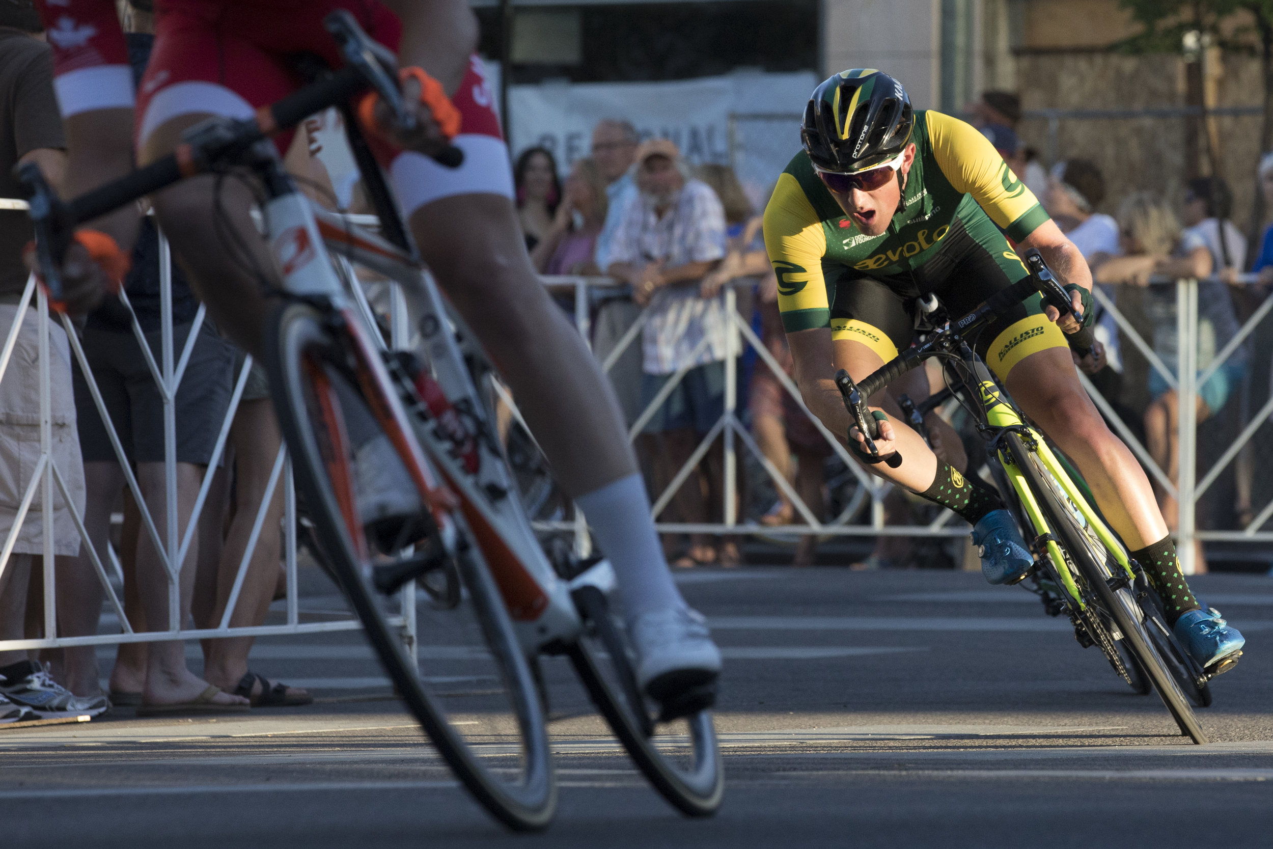 Gage Hecht, right, races at the men's pro at 32nd annual Boise Twilight Criterium in downtown on Saturday, July 14, 2018. Hecht finished as the men's pro winner.