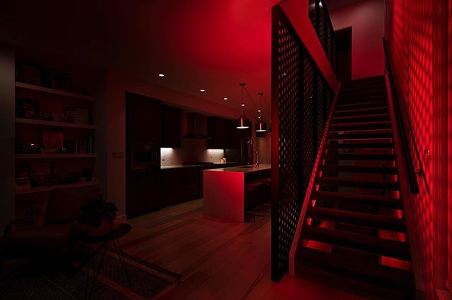 Spooky October shoot with @paul_swanson_ from the stairway partitions completed for @vigadevelopments  #yeghomes #yeg #red #yeginteriors #yeginteriordesign #interiors #stairs #metal #flatblack #black #yeghome #yegdt #infill #yeginfills