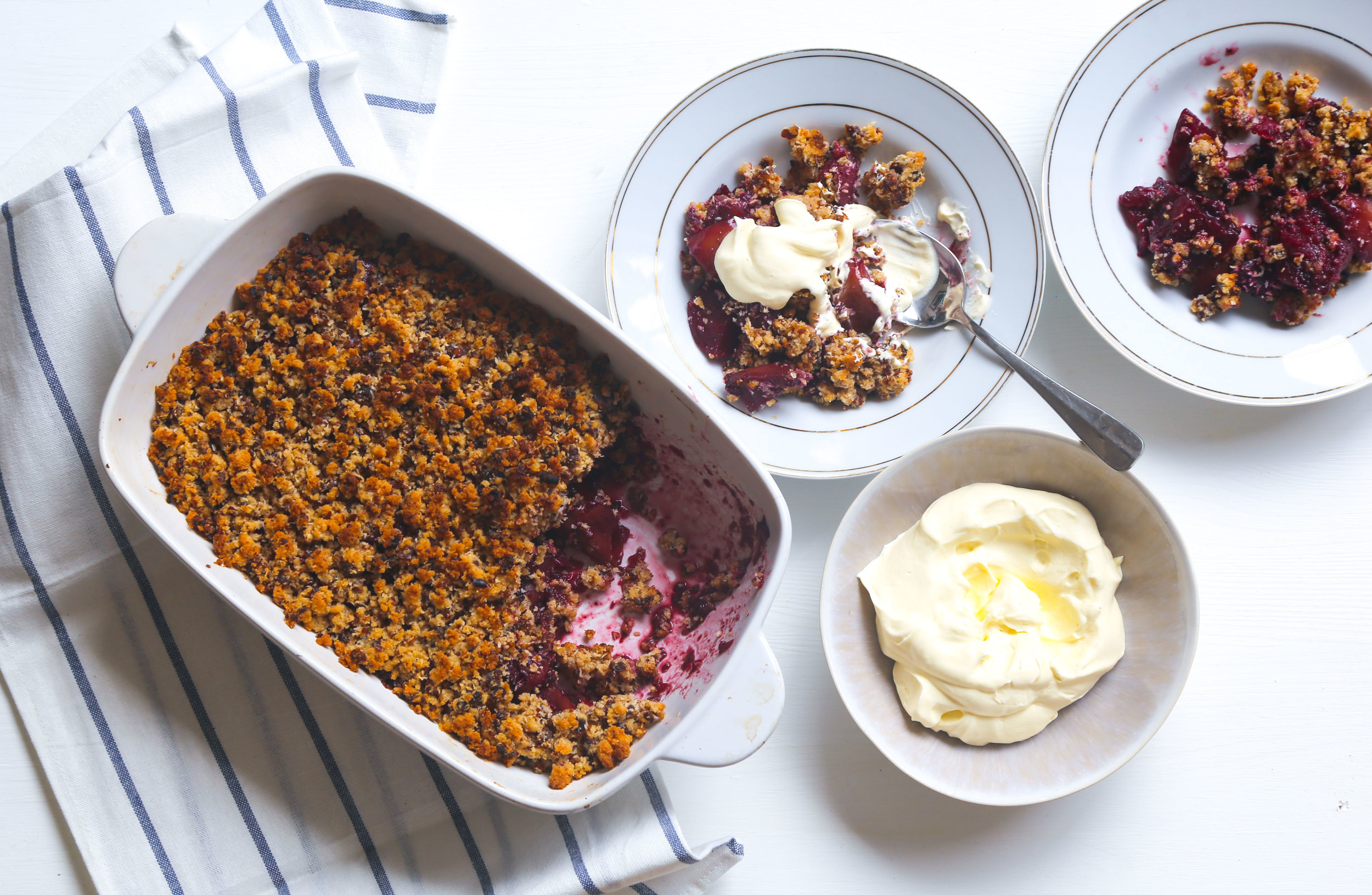 Apple Crumble -            With mixed berries, and whipped cream