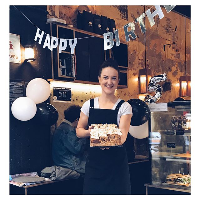 Today @seedlingcafeau turned 5 :) I celebrated by baking dads famous vegan carrot cake for all of our loyal customers!  Here's to the next 5 years 🙌