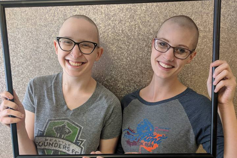 Rachael and Lacey got matching buzz cuts on December 8th, at the beginning of Rachael's chemotherapy journey.