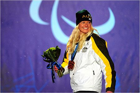 Jessica Gallagher with her first Winter Paralympic medal, won at the 2010 Vancouver Games on her 24th birthday.