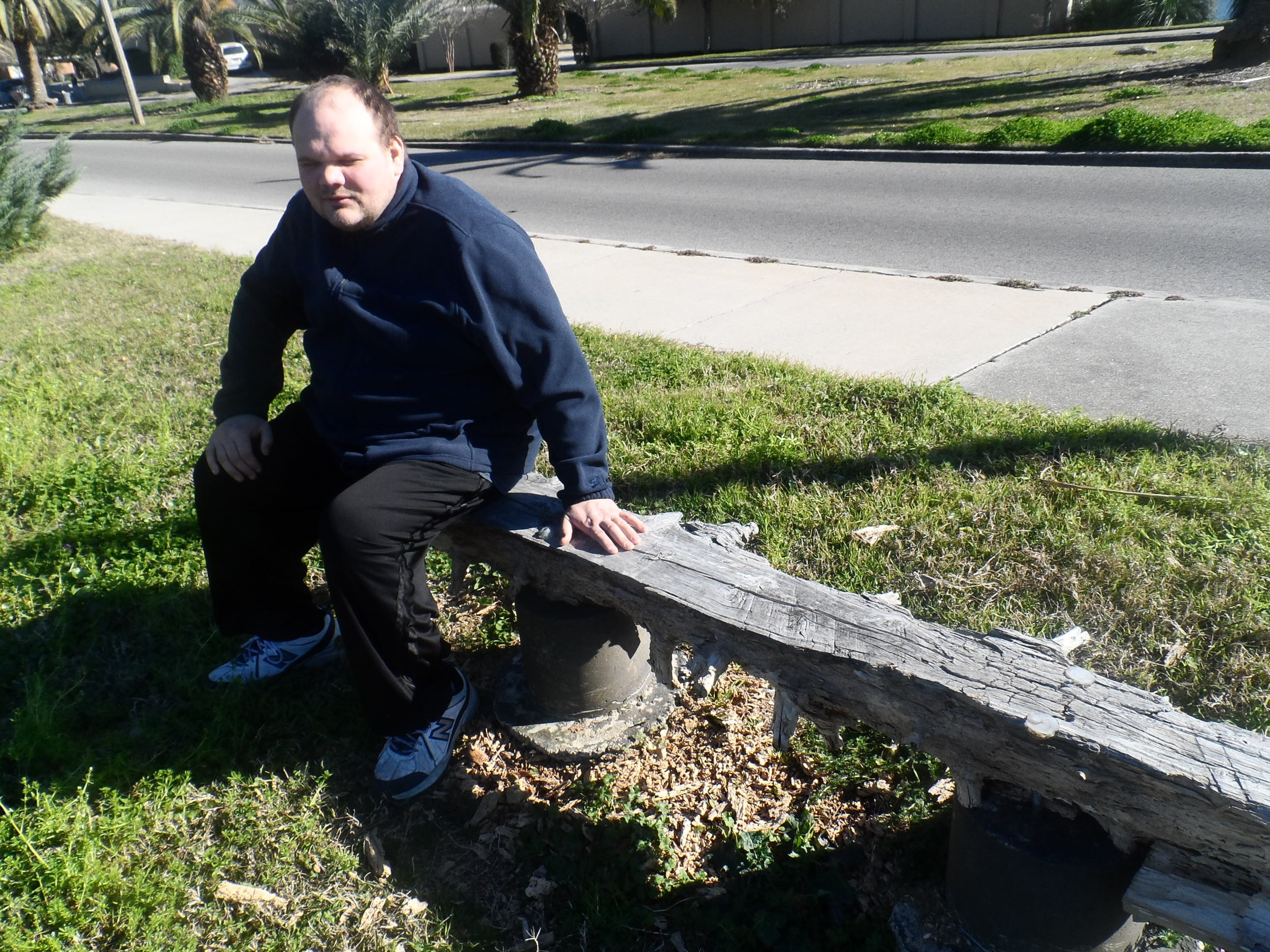 Shown here. The bench was eaten by the infamous Formosa termites. Those same termites later ate his couch.