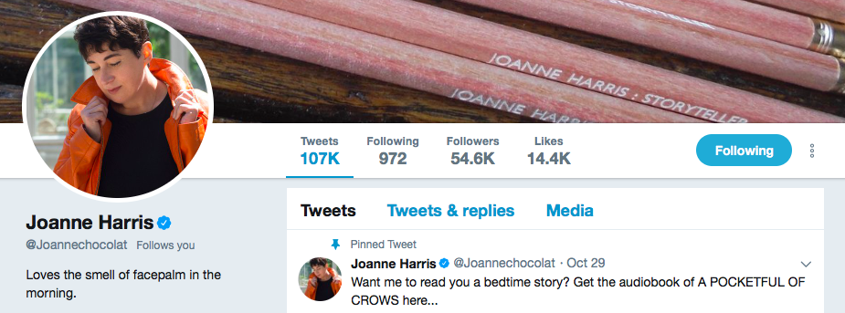 Joanne Harris on Twitter