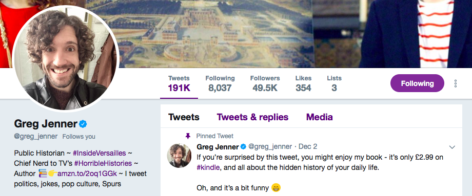 Greg Jenner on Twitter