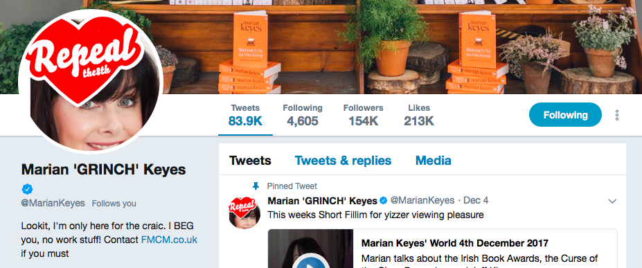 Marian Keyes on Twitter