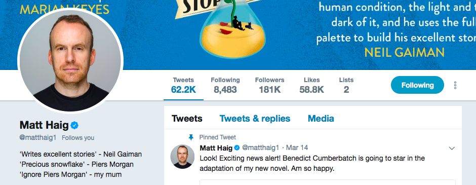 Matt Haig on Twitter