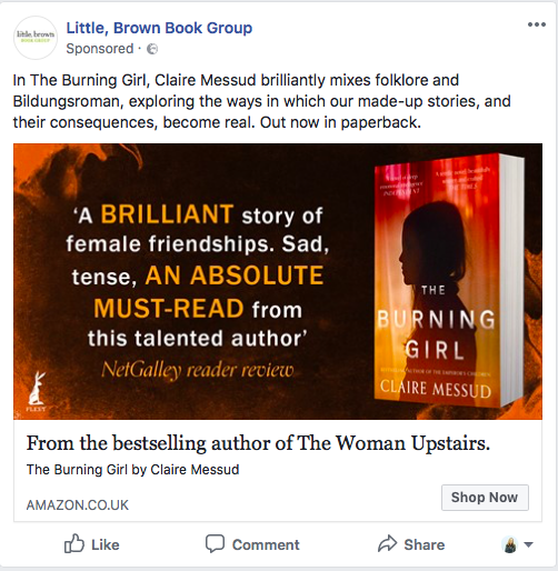 LM- Example of a facebook book ad May18 with review.png